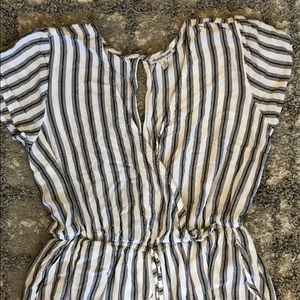 Grey & White Striped Charlotte Russe Jumpsuit